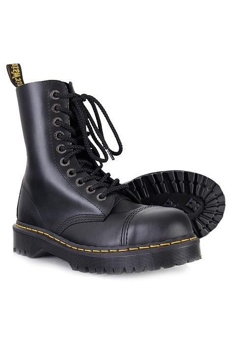 8761 10 eye steeltoe boot Black