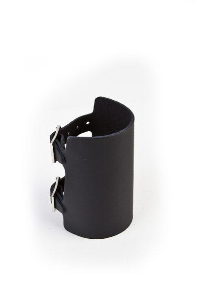 7-Row Plain Leather Wristband Black