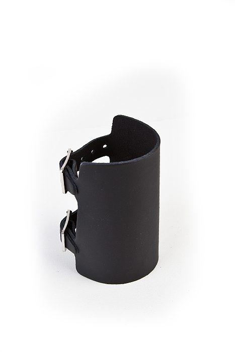 7-row plain leatherwristband Black