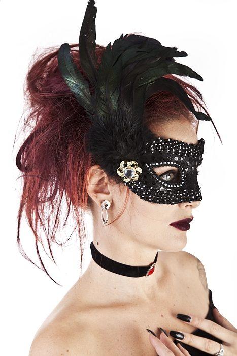 Black Eyemask w. Feather