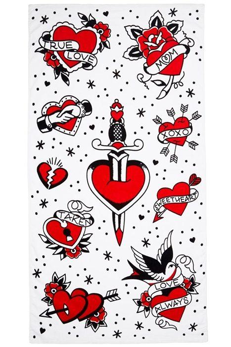 Beach Towel Tattooed Heart
