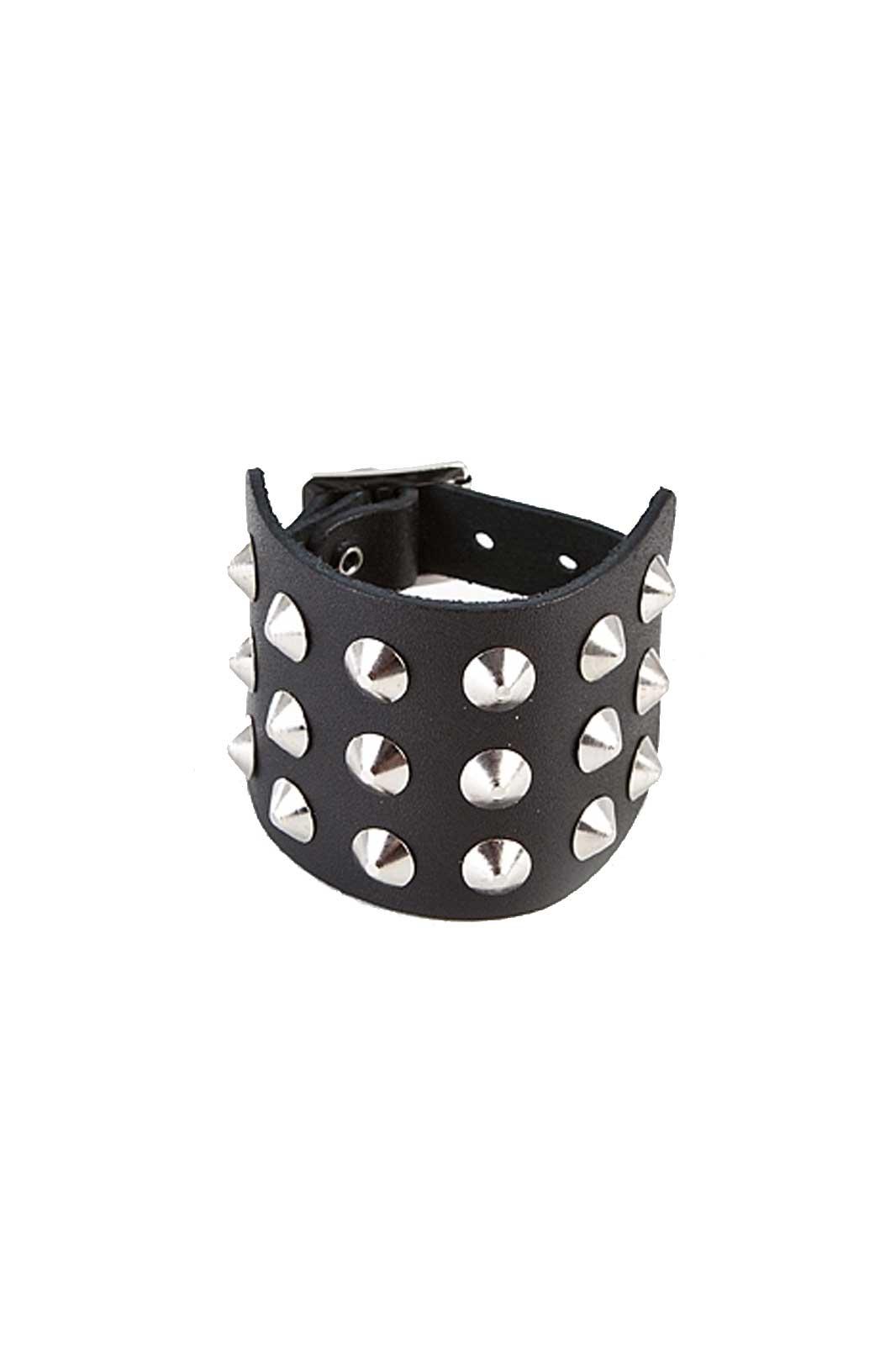 randomizer 3 row cone wristband black
