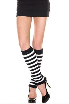 Fuzzy Leg Warmer Black/White