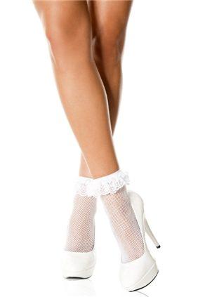 Lace Ruffle Socks White