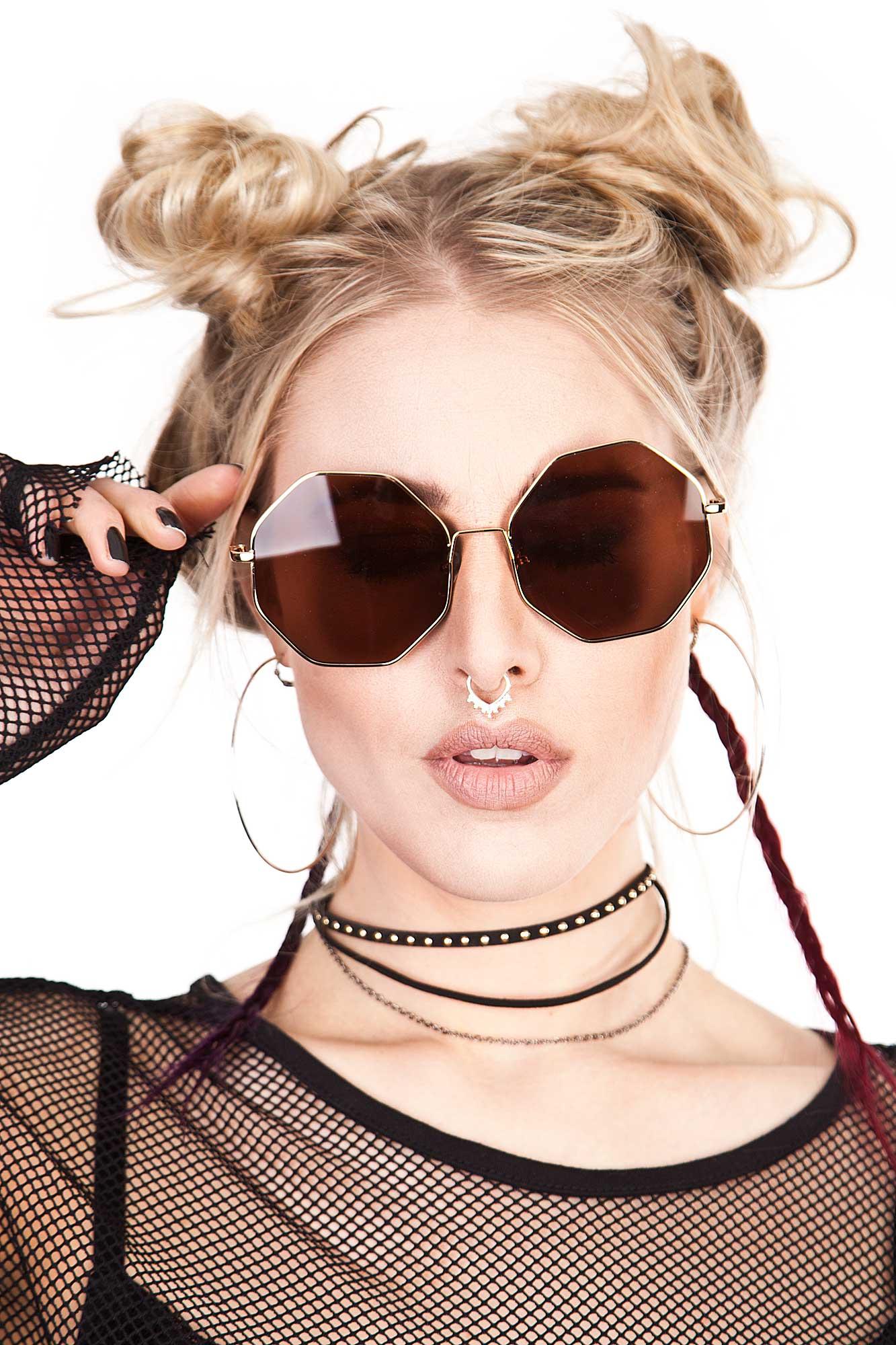 Big Hexagon Sunglasses Brown