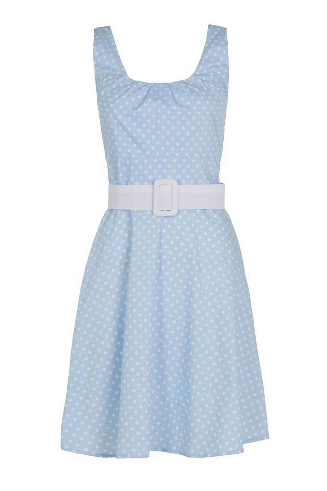 blå polkaprickig klänning med skärp