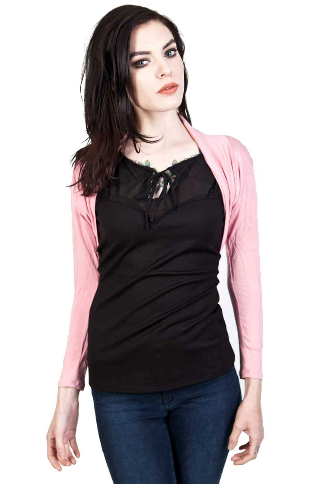 banned apparel folded bolero pink