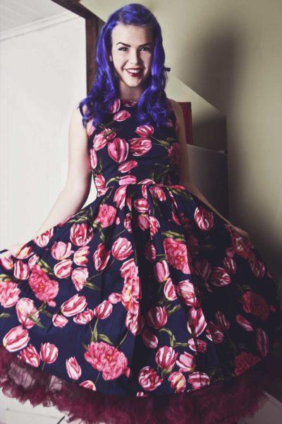 Rockabilly Flower Dress Navy