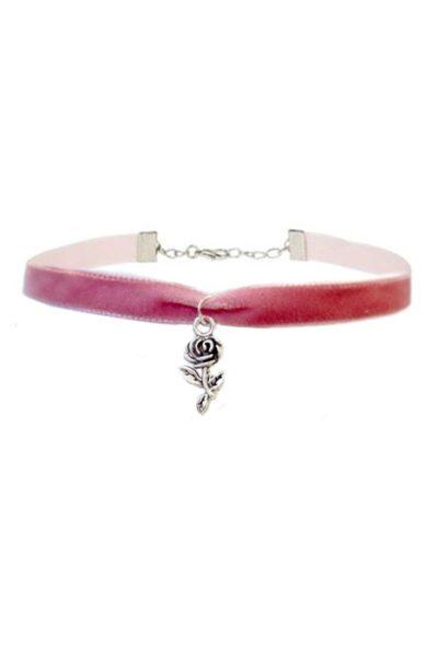 Rose Charm Pink Velvet Choker