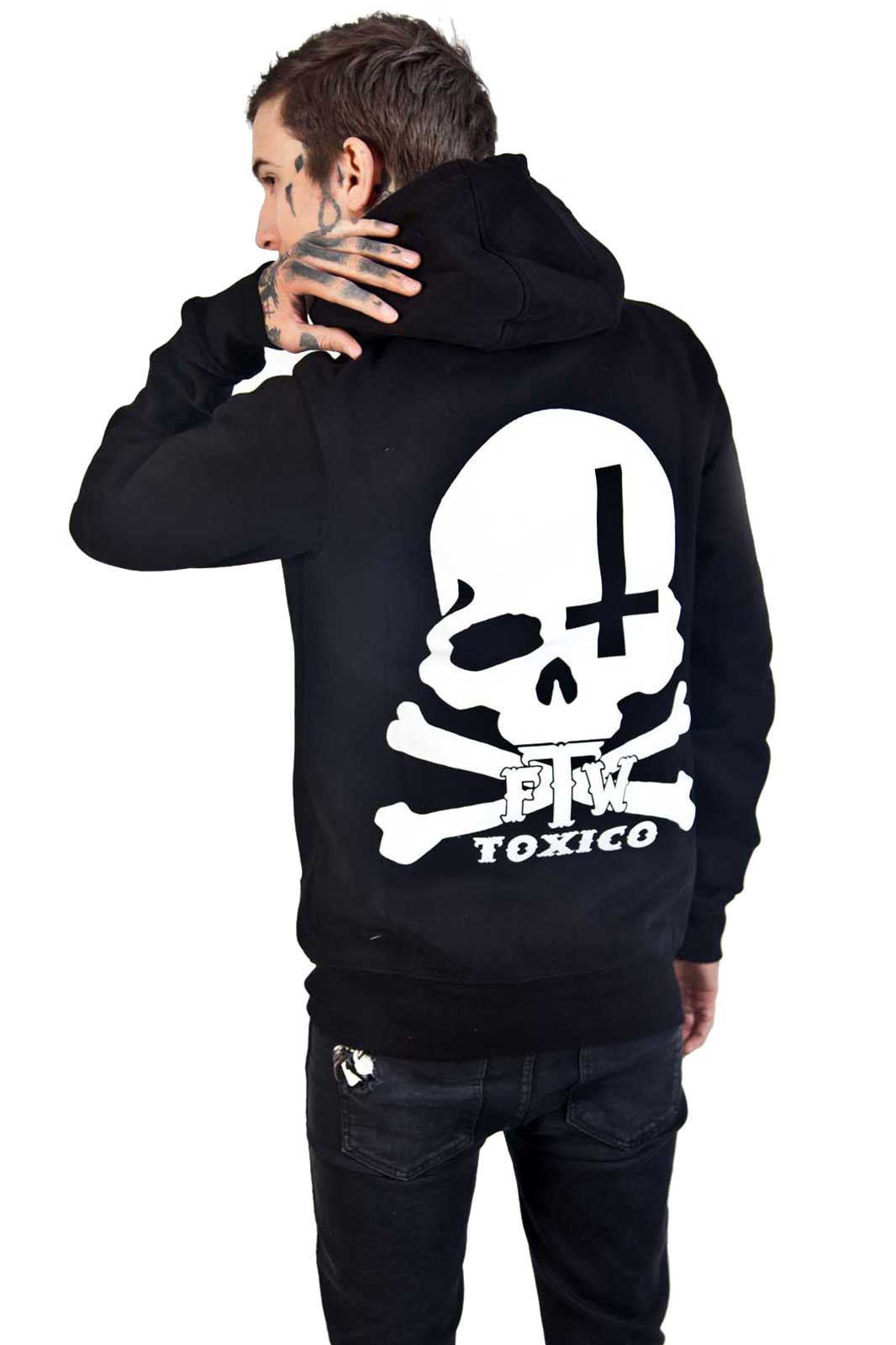 Skull Cross Zip Hoodie