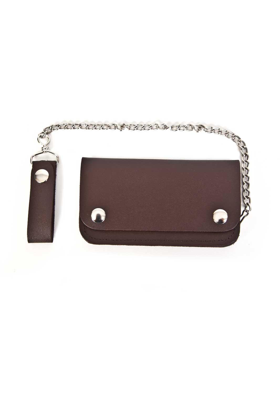Leather Biker Wallet Medium Bi-Fold Brown