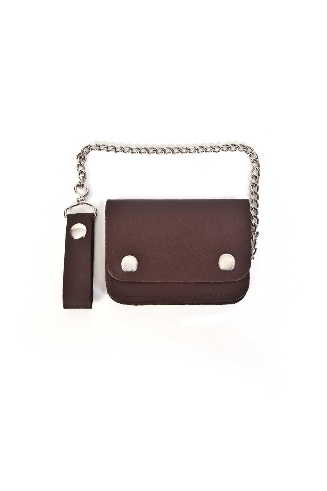 Leather Biker Wallet Small Bi-Fold Brown