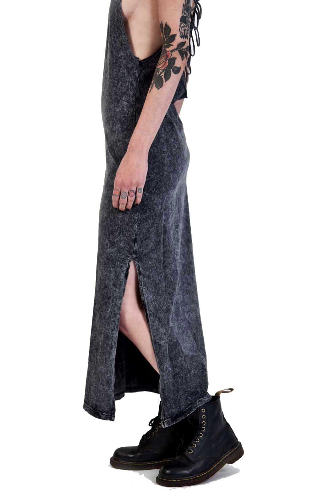 Random Wash Cut Out Dress Black Side