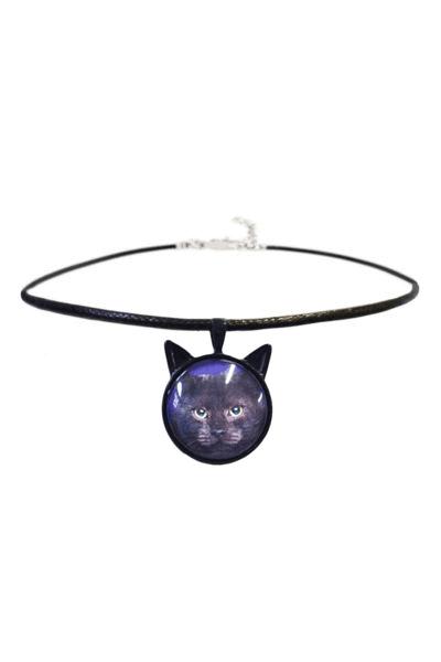 Cat Cabochon Cord Choker
