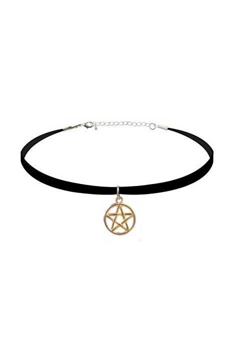 Gold Pentagram Velvet Choker