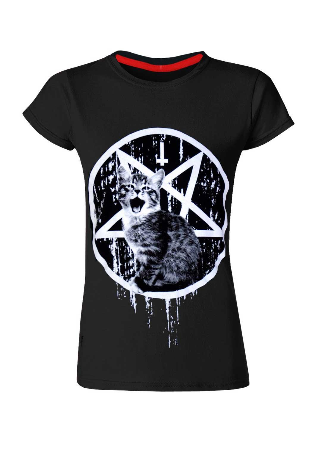 Satans Kitty Ladies Tee Black Darkside