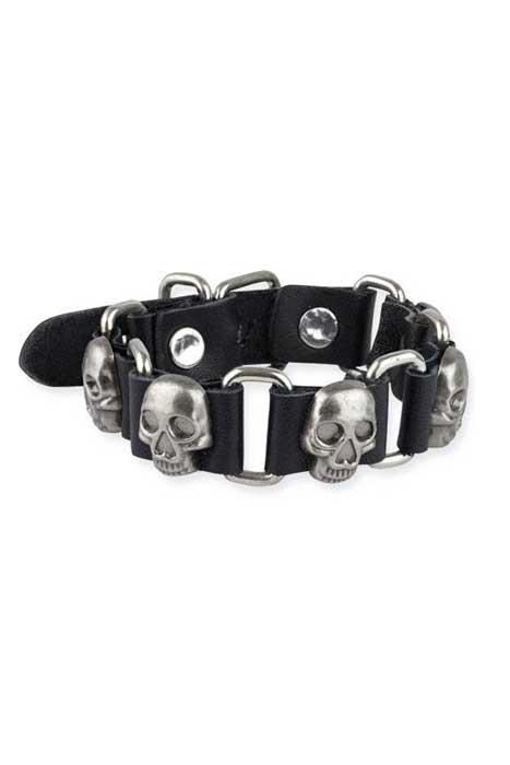 Bracelet Skulls leather details