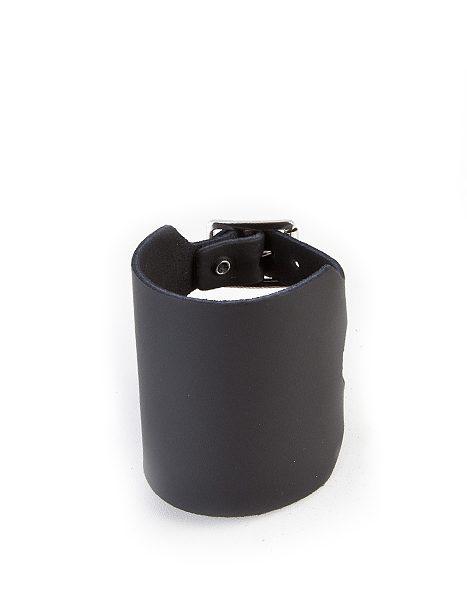 4-row plain leatherwristband Black
