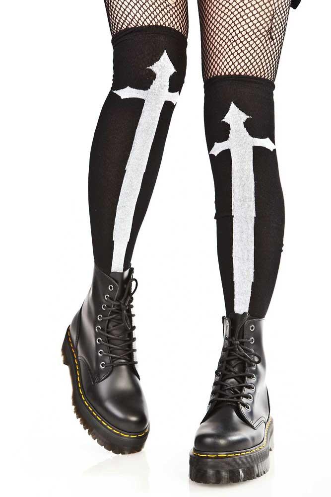 Knee Socks Black w Cross