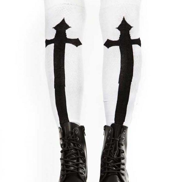 Knee Socks White w Cross