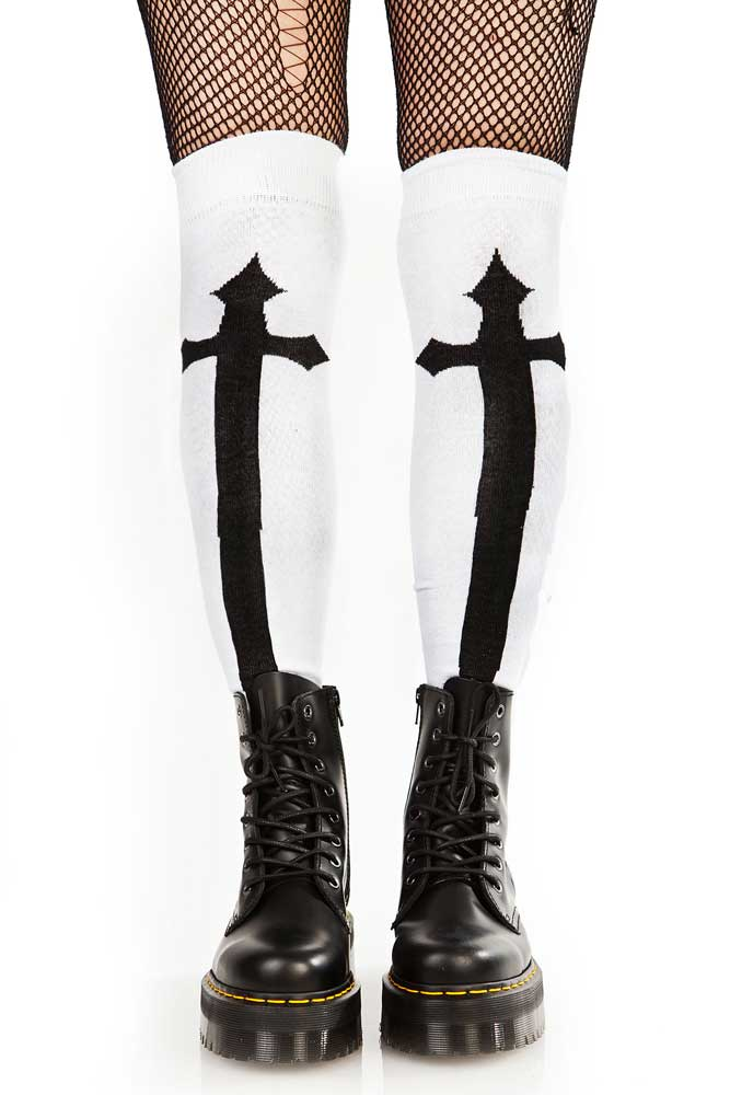 Knee Socks White w Cross