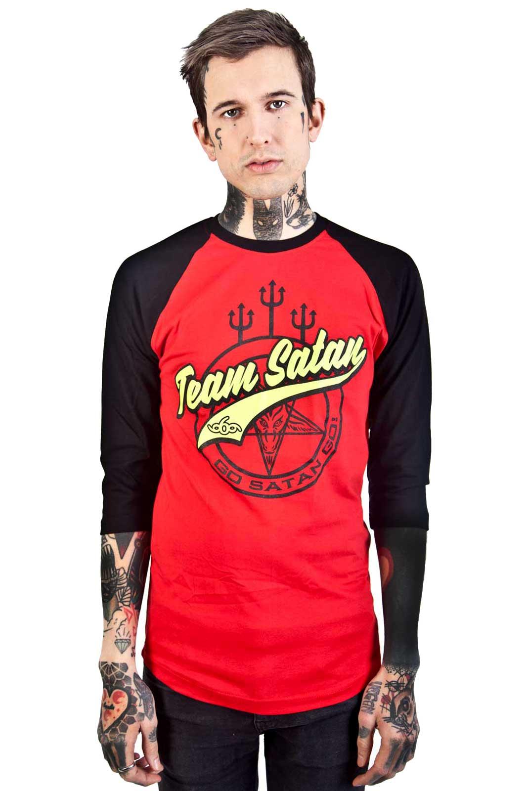 Team Satan Baseball Tee Front
