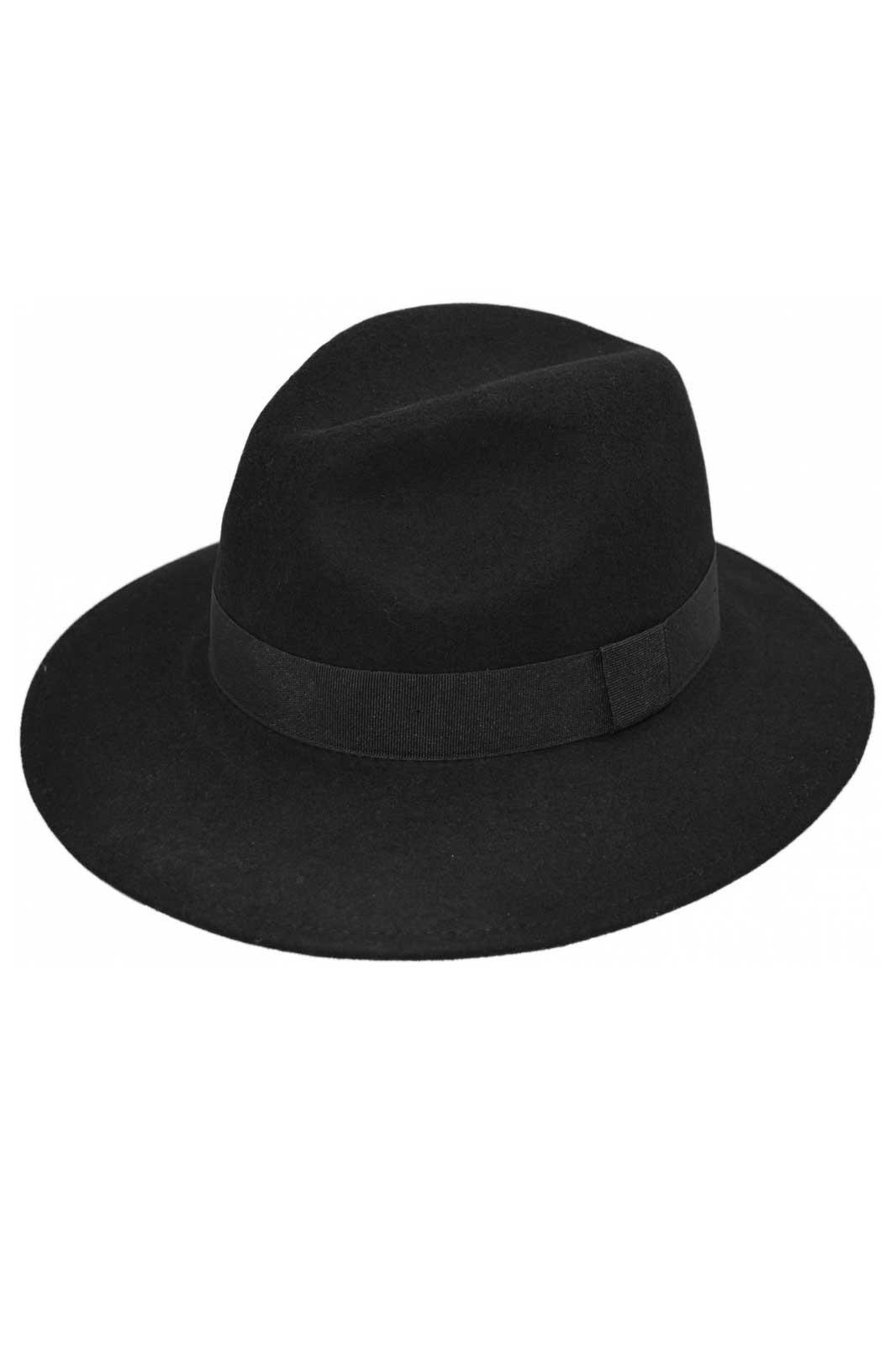 Wool Felt Fedora Hat Black