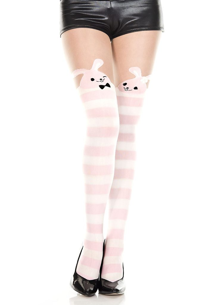 Bunny Striped Pantyhose Pink