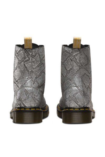 dr martens 1460 pascal vegan metallic silver snake