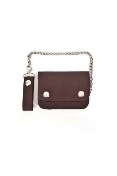 shock store leather biker wallet small bi fold brown