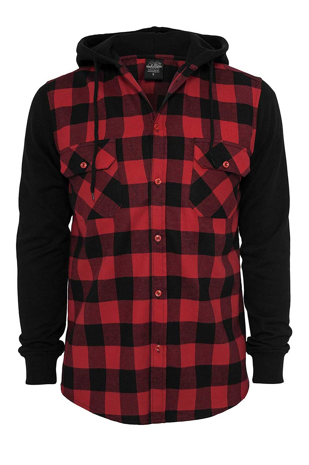 urban classics hooded checkered flannel sweat
