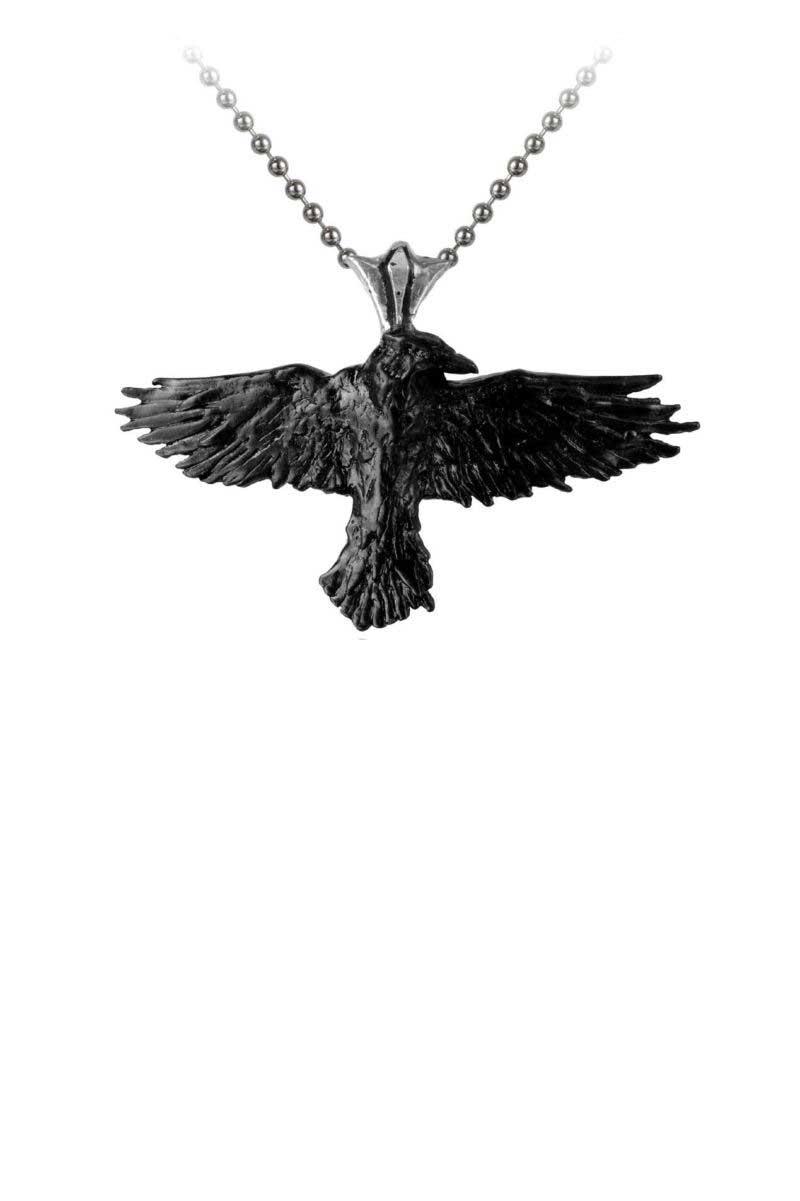 alchemy black raven pewter pendant