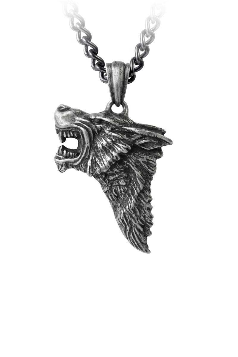 alchemy dark wolf pewter pendant
