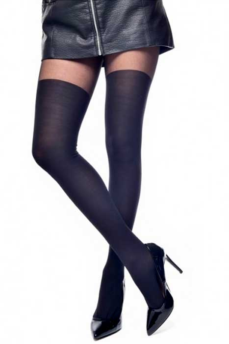 Plain Over The Knee Tights Black