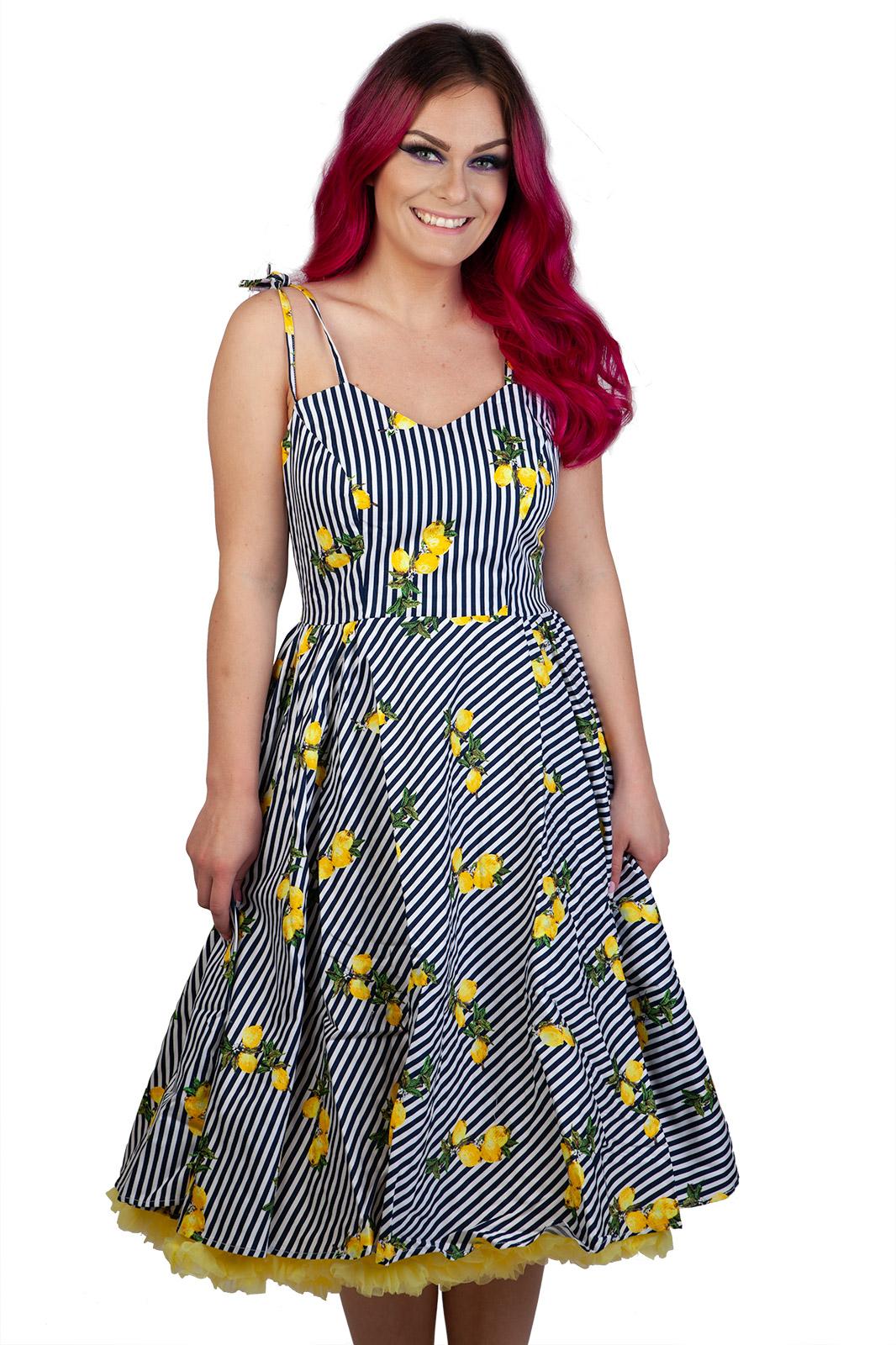 Stripe & Lemon Dress Navy