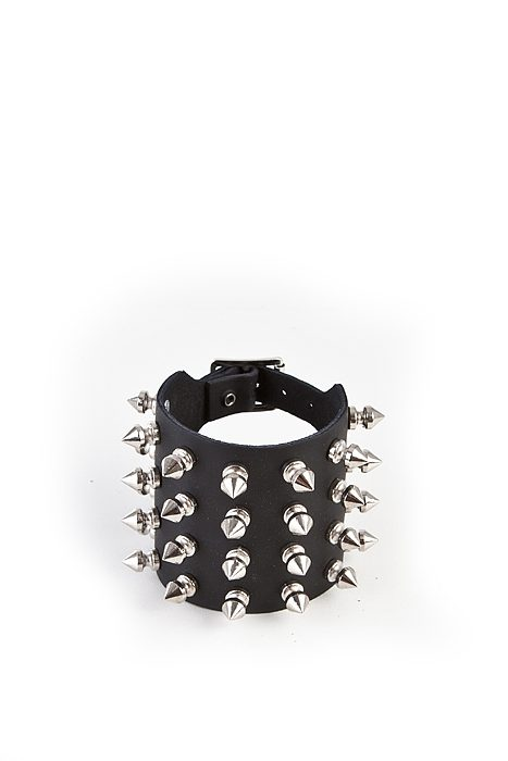 4-Row Spike Wristband Black