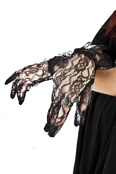 Black Lace Gloves With Frill