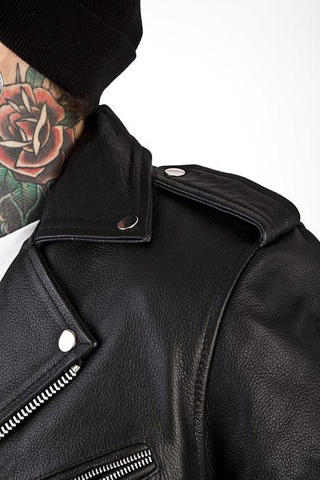 Marlon Brando perfecto dark brown rock punk leather nail jacket