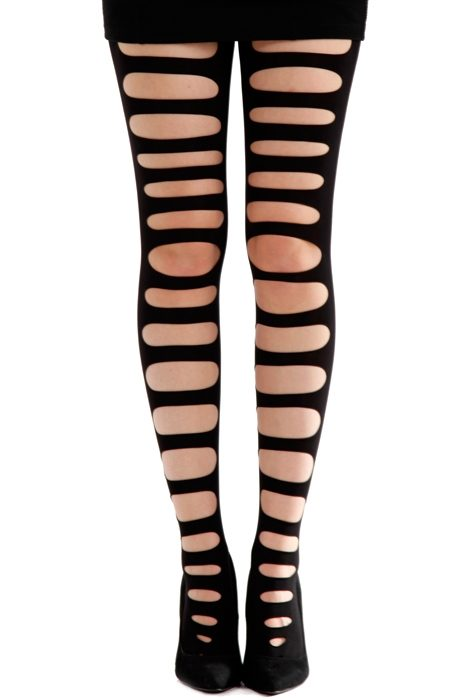 Front Slash Tights Black