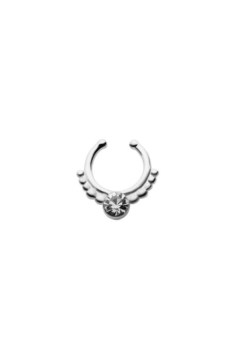 Clear Gem Faux Septum Silver