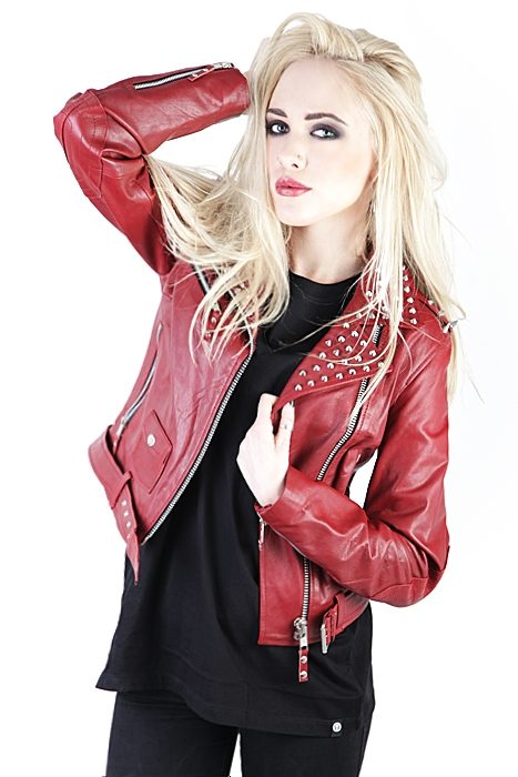 Roll Rivets Leather Jacket