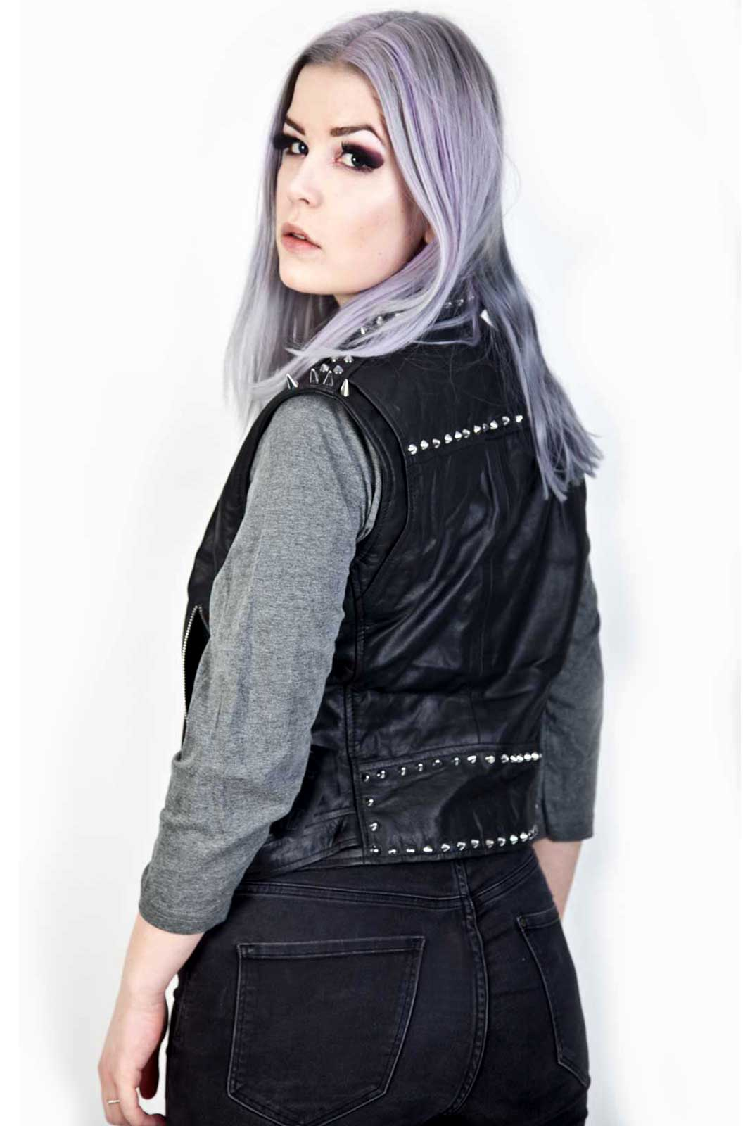 Rolling Leather Vest Back