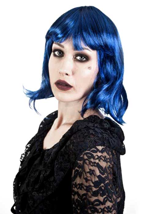 Gothic Vamp Wig Blue