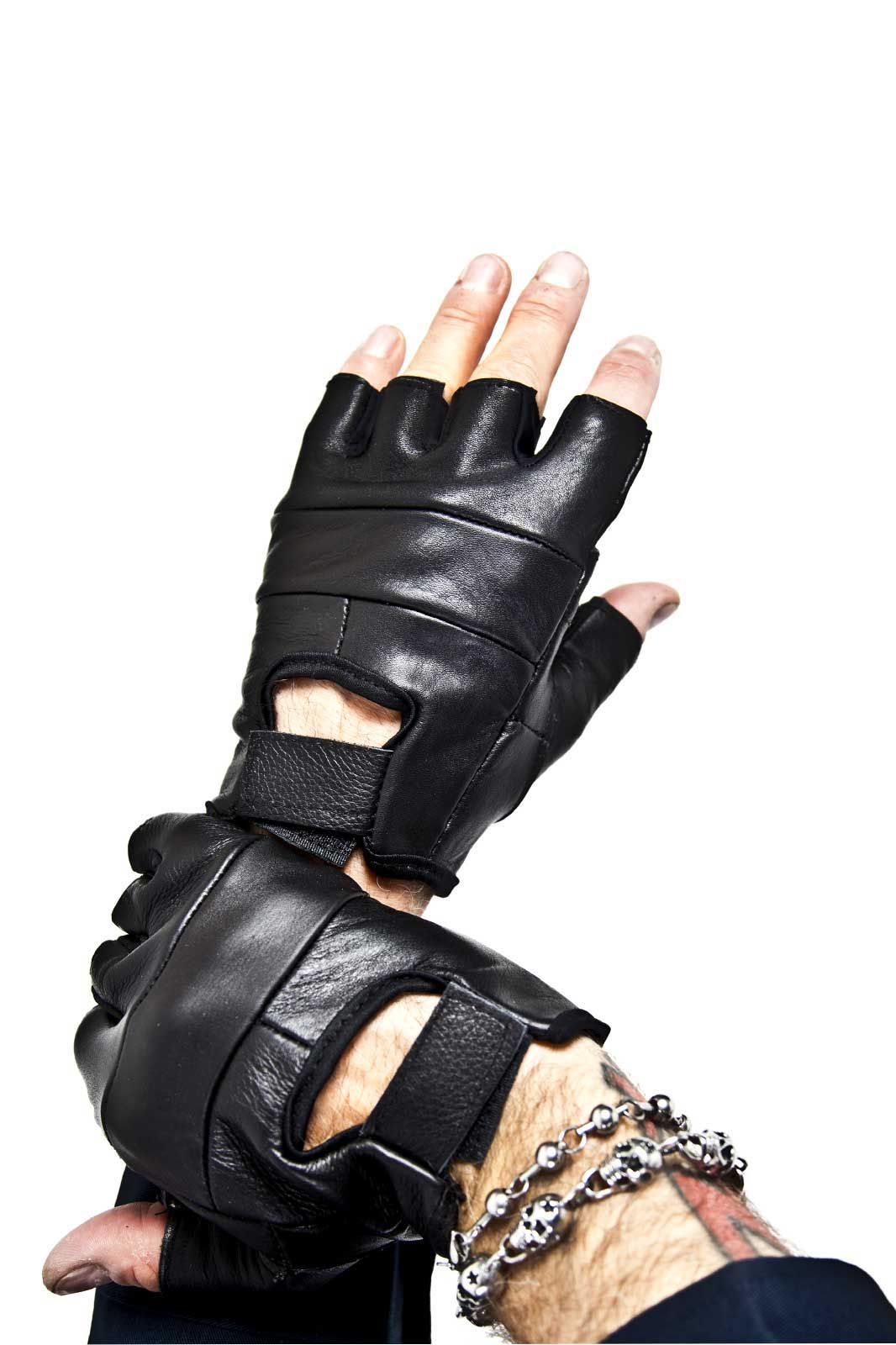 Plain Leather Biker Gloves