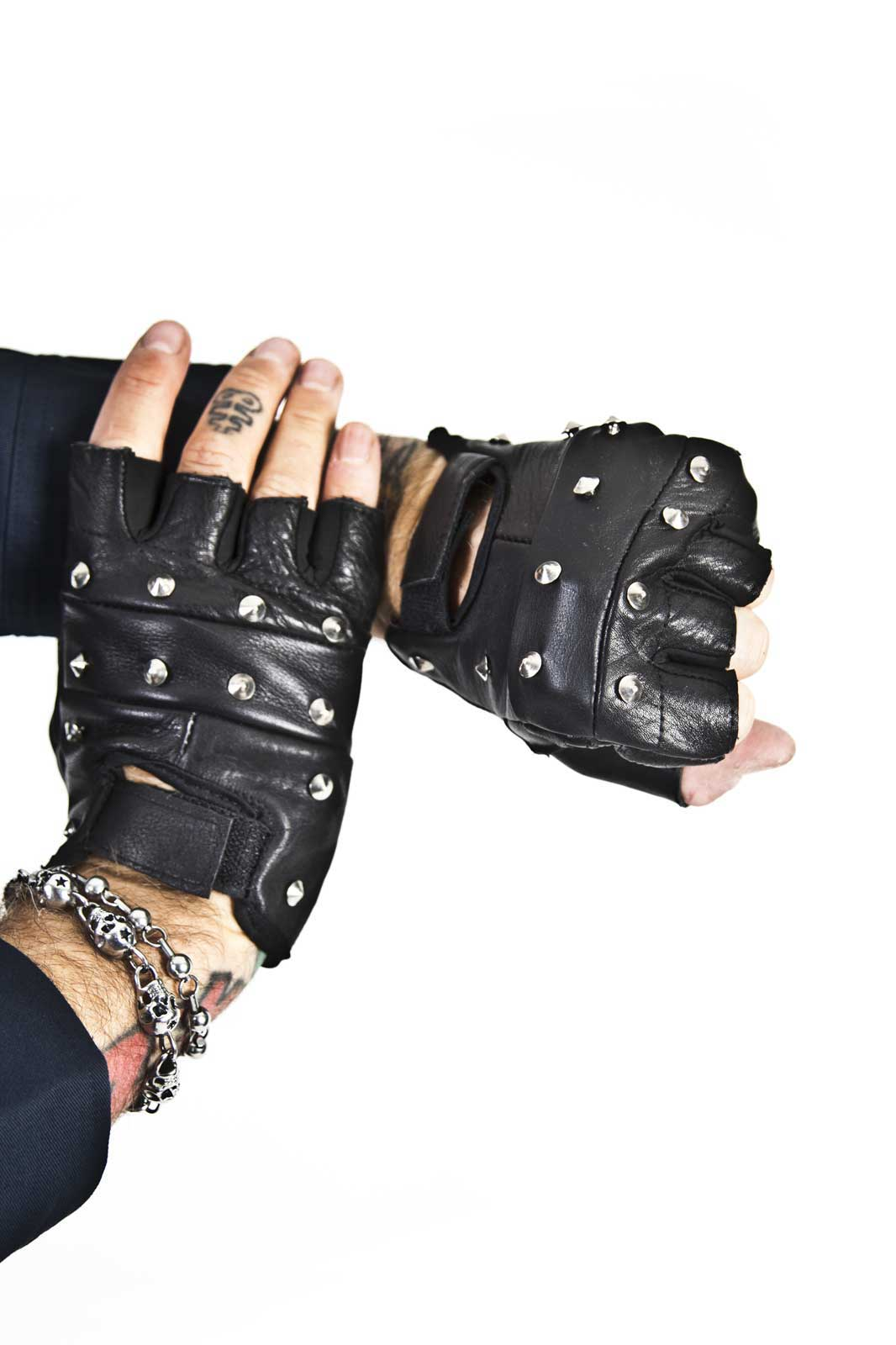Studded Leather Biker Gloves