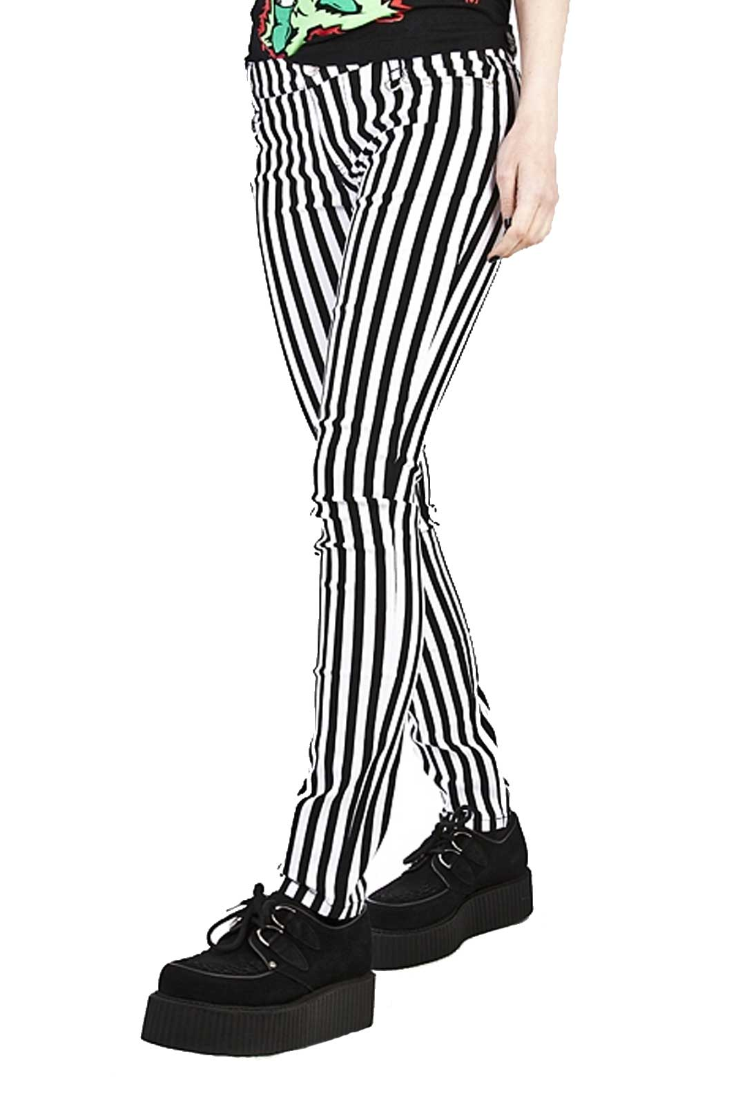 banned apparel clothing stripe skinny jeans black white