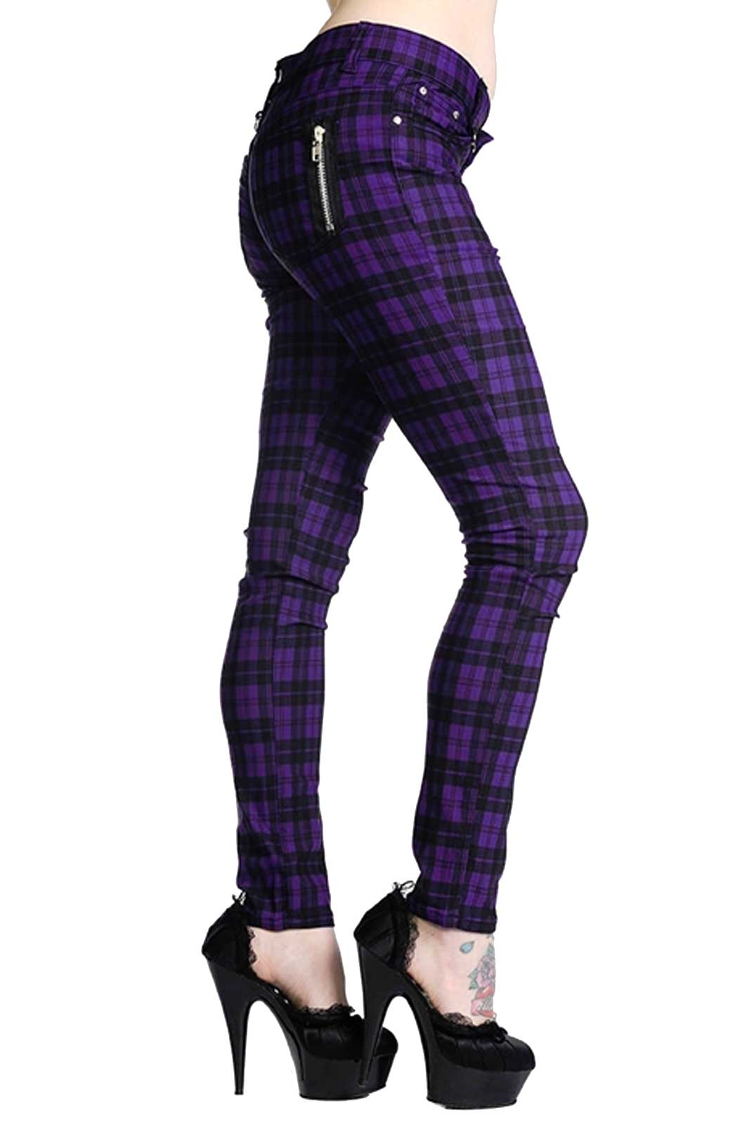 banned ladies trousers purple tartan