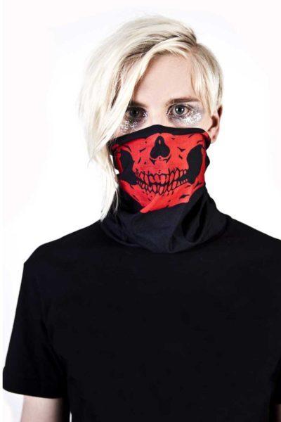 Sm1 Skull Mask Tube Scarf Red