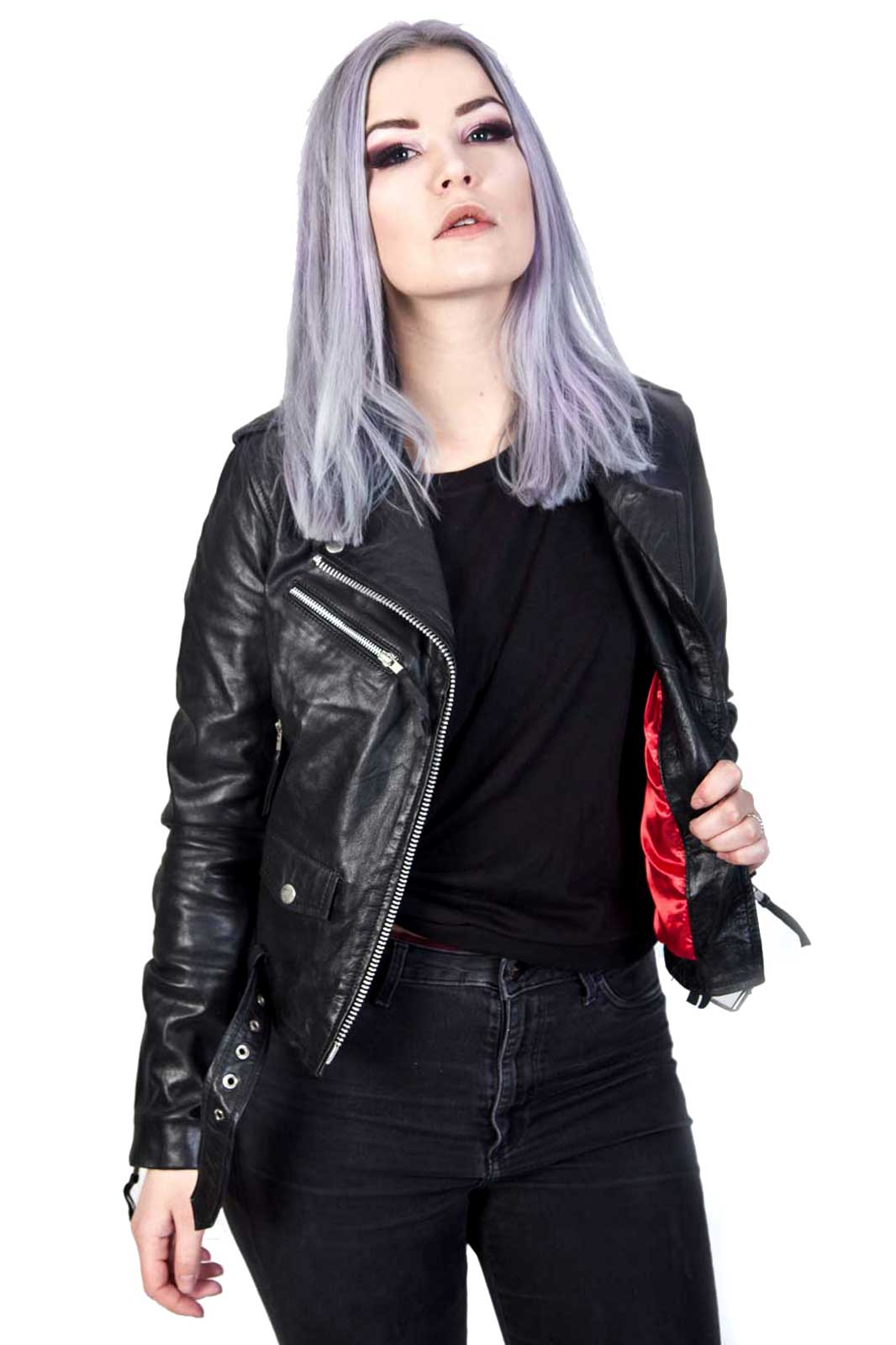 Roll Leather Jacket Black Front