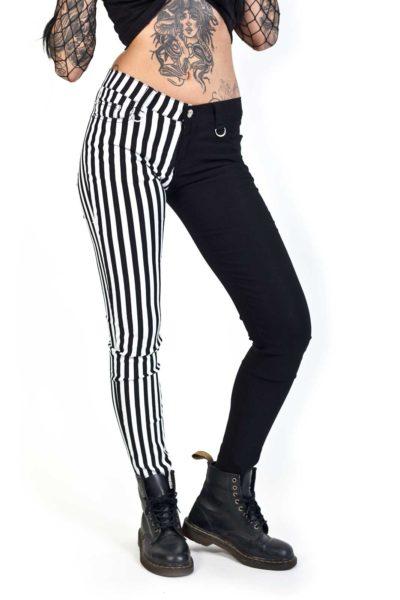 banned split pant stripe